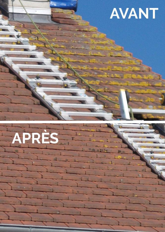 Résultats d'un nettoyage de la toiture(nettoyage de la mousse et du lichen sur les tuiles avec un traitement anti mousse réalisé par des couvreurs aux alentours de La Ferté-Bernard en Sarthe entre Vibraye et Nogent-le-rotrou en Eure-et-loir