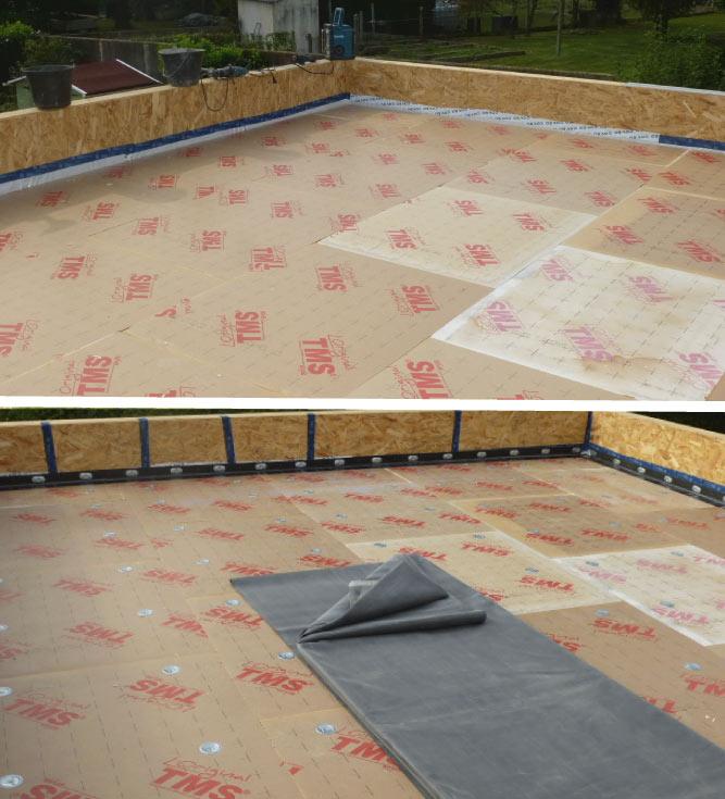 Les étapes pour la création d'une toiture plate ou terrasse : réalisation de la charpente, mise en place du plancher, isolation et installation de la membrane d'étanchéité (EPDM et bitume) puis un revêtement